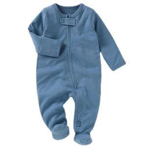TEAL | Baby toddler organic footie jumpsuit